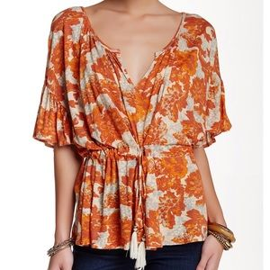 Free people Riverbend Ruffle Sleeve Blouse